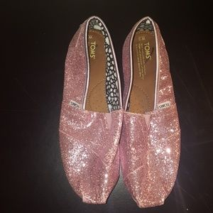 Toms pink glitter shoes size W12